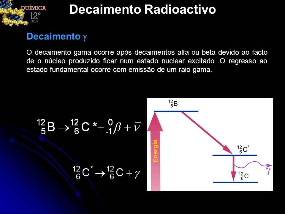 Decaimento Radioactivo O decaimento gama ocorre após decaimentos alfa ou beta devido ao facto de o núcleo produzido ficar num estado nuclear excitado.