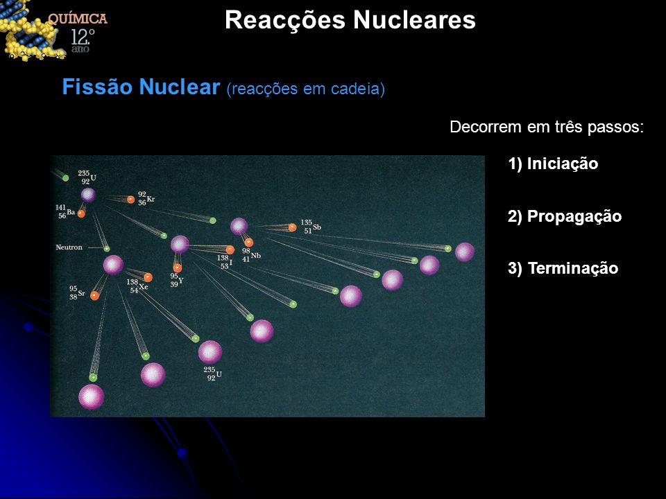 Reacções Nucleares Fissão Nuclear (reacções em cadeia) Decorrem em três passos: 1) Iniciação 2) Propagação 3) Terminação