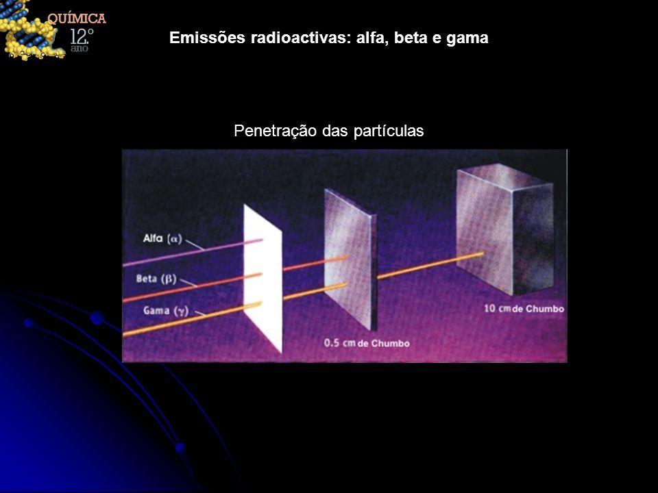 Emissões radioactivas: alfa, beta e gama Menos de 10% de c 1,67 x 10 -27 0 Muito penetrante n 10% de c 1,65 x 10 -27 +1 Penetração moderada a baixa oup c00 Muito penetrante Menos de 90% de c 9,11 x 10 -31 +1 Moderadamente penetrante + ; e + ; + ; e + ; + Menos de 90% de c 9,11 x 10 -31 Moderadamente penetrante ; ; e - ; ; ; e - ; 10% de c 6,65 x 10 -27 +2 Pouco penetrante mas provoca danos ;Exemplo Velocidade das partículas Velocidade das partículas Massa da partícula / kg Carga da partícula / e Grau de Penetração PartículaTipo