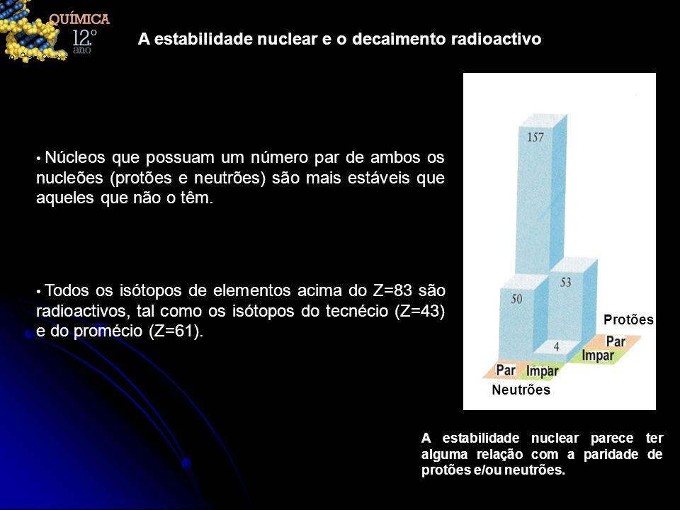 A estabilidade nuclear e o decaimento radioactivo Núcleos que possuam um número par de ambos os nucleões (protões e neutrões) são mais estáveis que aq