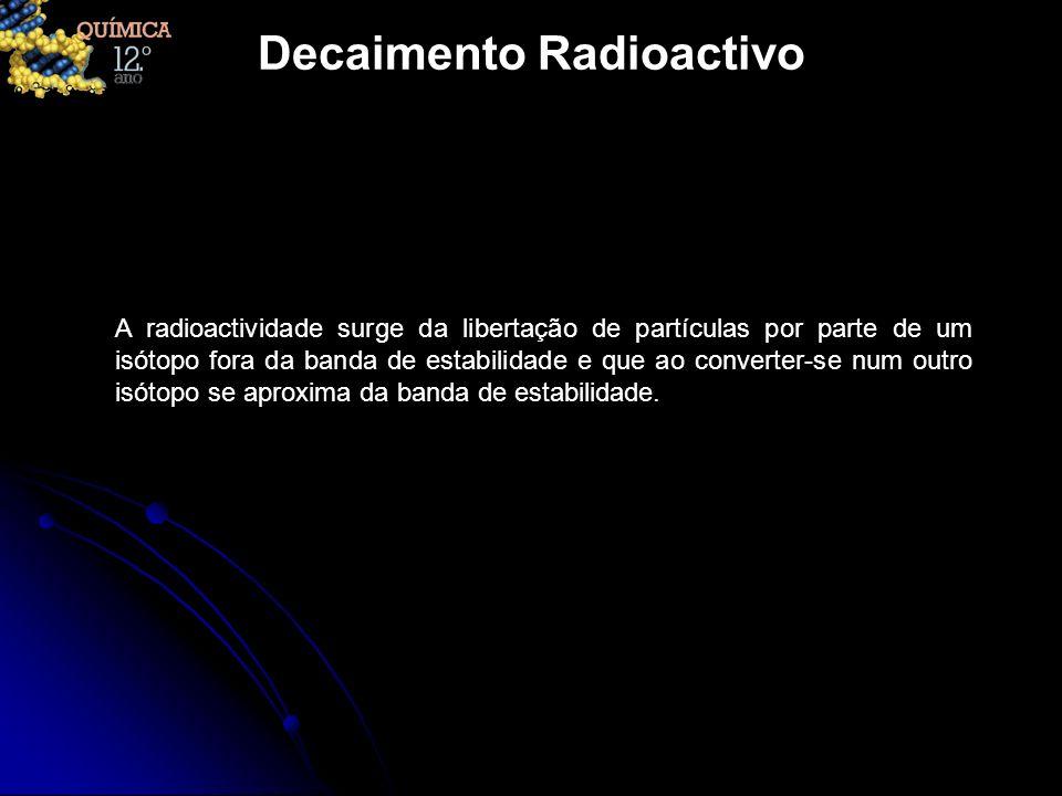 Decaimento Radioactivo A radioactividade surge da libertação de partículas por parte de um isótopo fora da banda de estabilidade e que ao converter-se