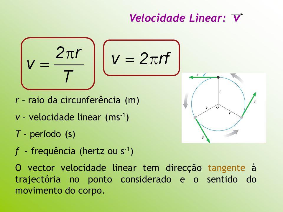 Velocidade Linear: v r – raio da circunferência (m) v – velocidade linear (ms -1 ) T - período (s) f - frequência (hertz ou s -1 ) O vector velocidade