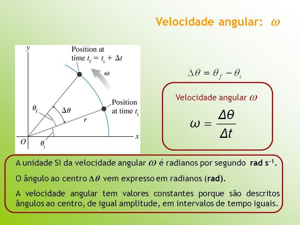 Velocidade angular: Velocidade angular A unidade SI da velocidade angular é radianos por segundo rad s -1. O ângulo ao centro vem expresso em radianos