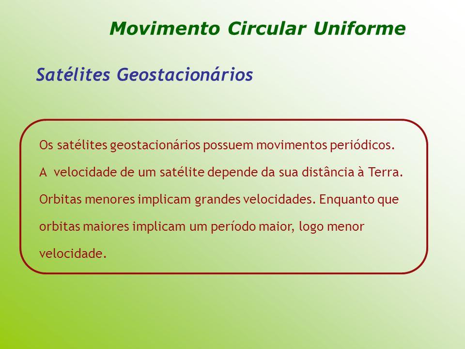 Satélites Geostacionários Os satélites geostacionários possuem movimentos periódicos. A velocidade de um satélite depende da sua distância à Terra. Or