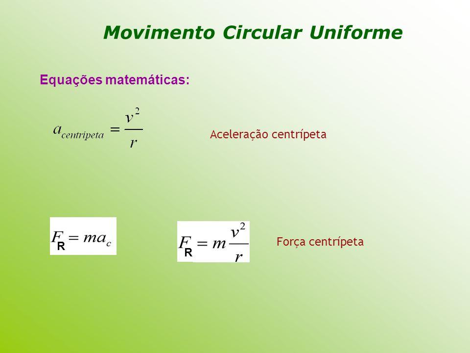 Equações matemáticas: Aceleração centrípeta R R Força centrípeta
