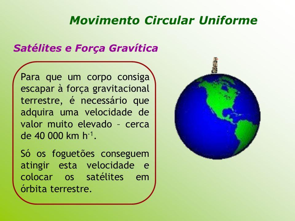 Satélites e Força Gravítica Para que um corpo consiga escapar à força gravitacional terrestre, é necessário que adquira uma velocidade de valor muito