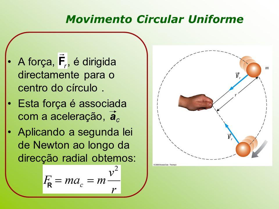 A força,, é dirigida directamente para o centro do círculo. Esta força é associada com a aceleração, a c Aplicando a segunda lei de Newton ao longo da