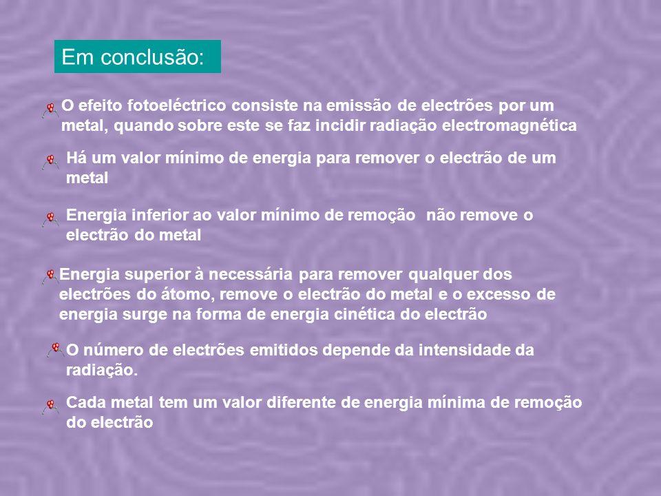 Em conclusão: O efeito fotoeléctrico consiste na emissão de electrões por um metal, quando sobre este se faz incidir radiação electromagnética O númer