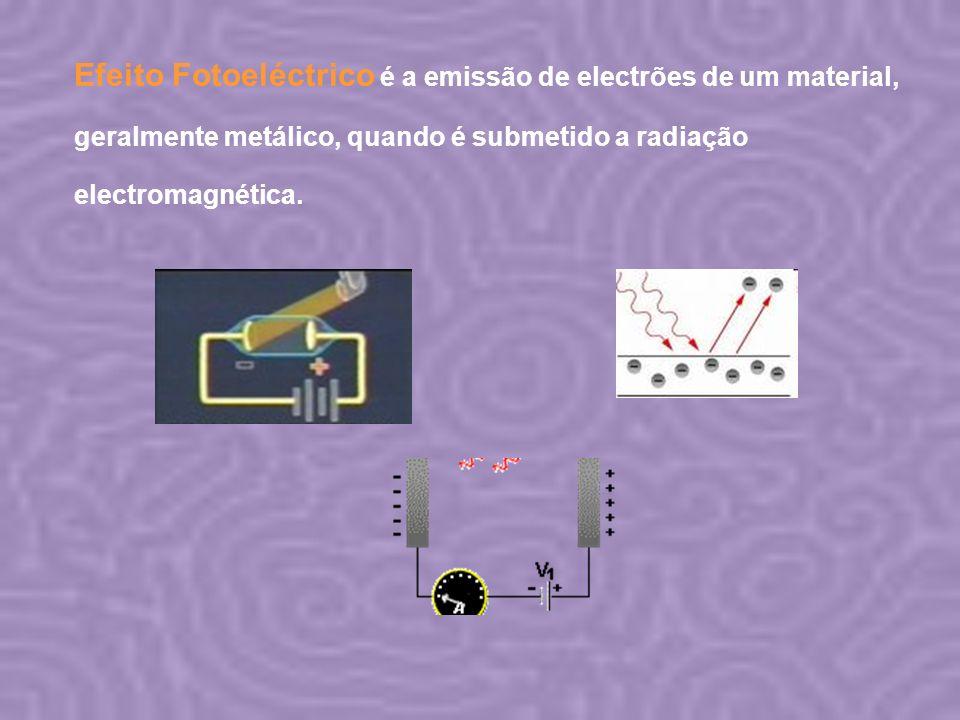 Efeito Fotoeléctrico é a emissão de electrões de um material, geralmente metálico, quando é submetido a radiação electromagnética.