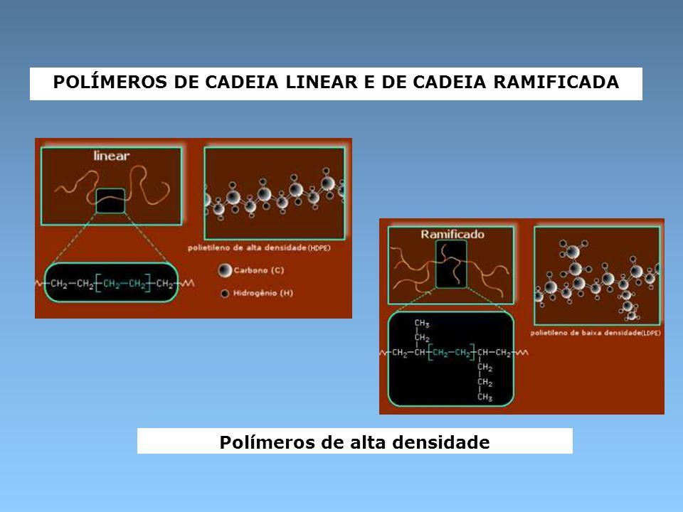 POLÍMEROS DE CADEIA LINEAR E DE CADEIA RAMIFICADA Polímeros de alta densidade