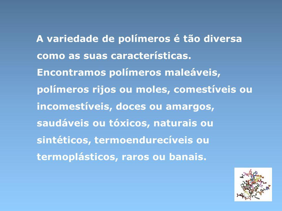 Polímeros sintéticos ( finais do sec XIX ) São polímeros sintetizados a partir de reacções químicas entre moléculas mais pequenas – os monómeros Polietileno Poliester Polímeros naturais ( conhecidos desde a antiguidade ) Encontram – se na Natureza : âmbar ( resina fossilizada ) celulose ( fibras das árvores) borracha natural ( seiva da seringueira ) Polímeros semi-sintéticos ou artificiais ( segunda metade do sec XIX ) São polímeros naturais modificados através de reacções substâncias químicas Borracha vulcanizada ( tratada com enxofre ) Ebonite ( borracha natural com excesso de enxofre )