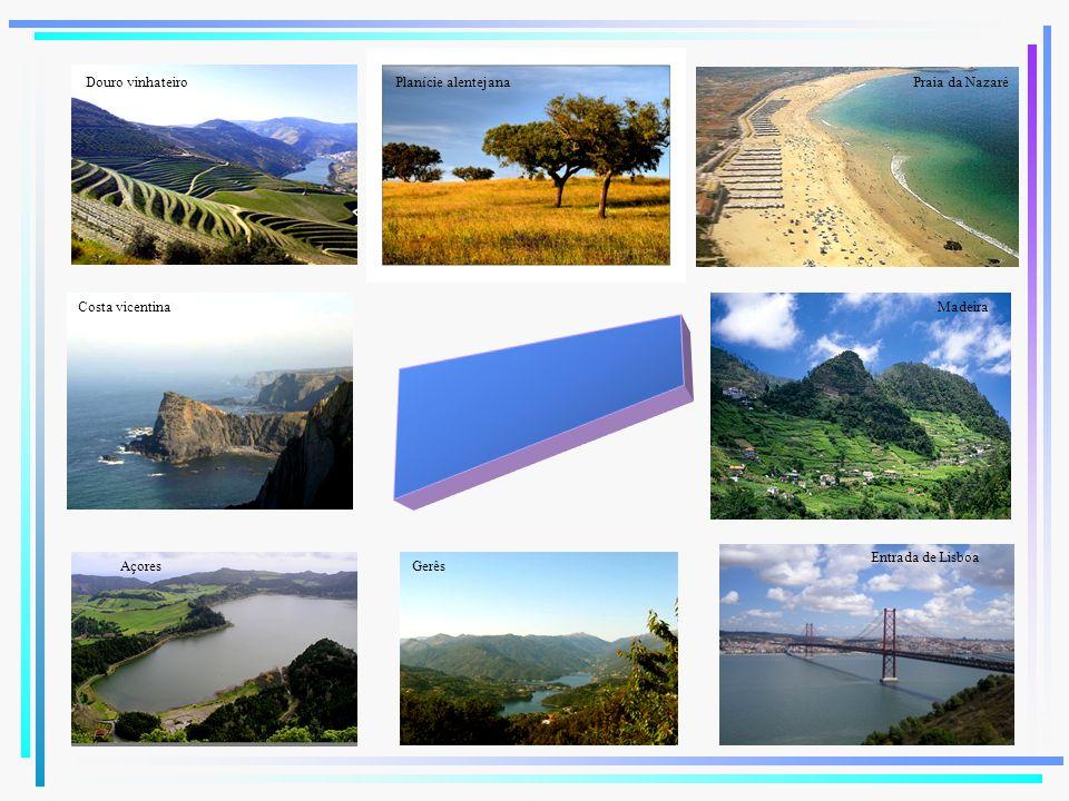 Planície alentejanaDouro vinhateiro Costa vicentina Açores Madeira Entrada de Lisboa Gerês Praia da Nazaré