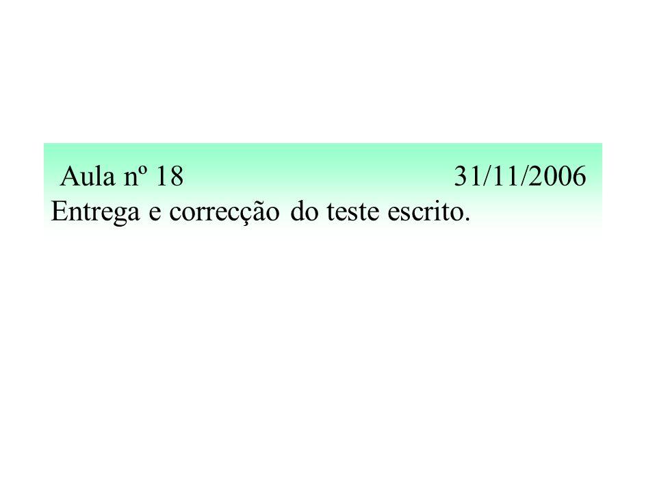 Aula nº 1831/11/2006 Entrega e correcção do teste escrito.