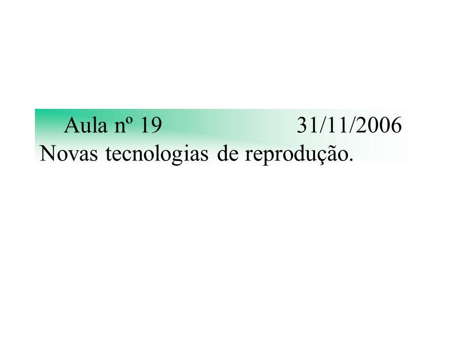 Aula nº 1931/11/2006 Novas tecnologias de reprodução.
