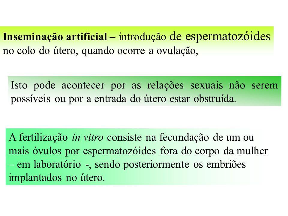 Inseminação artificial – introdução de espermatozóides no colo do útero, quando ocorre a ovulação, Isto pode acontecer por as relações sexuais não serem possíveis ou por a entrada do útero estar obstruída.