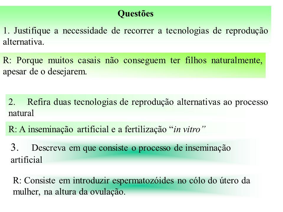 Questões 1.Justifique a necessidade de recorrer a tecnologias de reprodução alternativa.