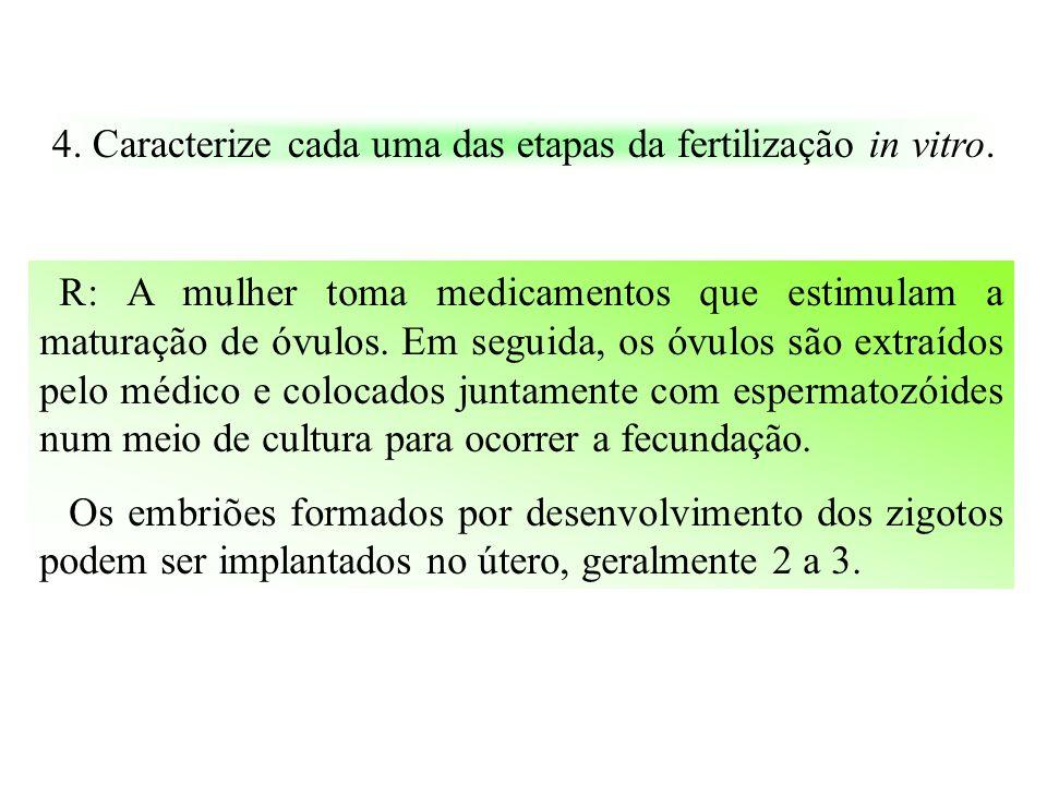 4.Caracterize cada uma das etapas da fertilização in vitro.