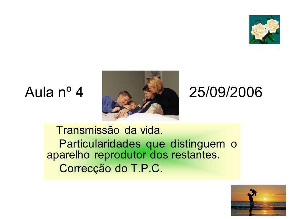 Aula nº 4 25/09/2006 Transmissão da vida. Particularidades que distinguem o aparelho reprodutor dos restantes. Correcção do T.P.C.