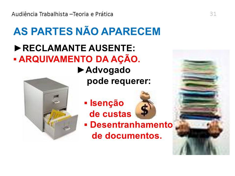 AS PARTES NÃO APARECEM RECLAMANTE AUSENTE: ARQUIVAMENTO DA AÇÃO. Advogado pode requerer: Isenção de custas Desentranhamento de documentos. Audiência T