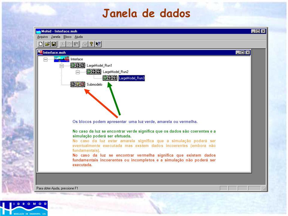 Janela de dados Os blocos podem apresentar uma luz verde, amarela ou vermelha. No caso da luz se encontrar verde significa que os dados são coerentes