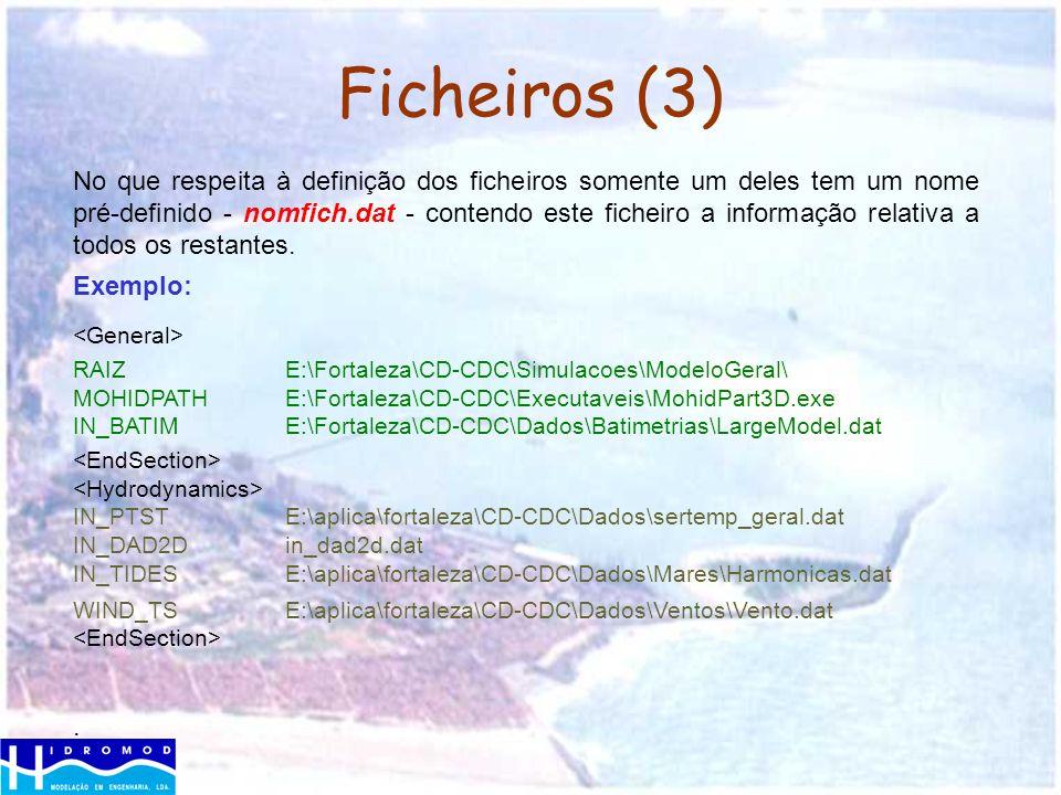 Ficheiros (3) No que respeita à definição dos ficheiros somente um deles tem um nome pré-definido - nomfich.dat - contendo este ficheiro a informação
