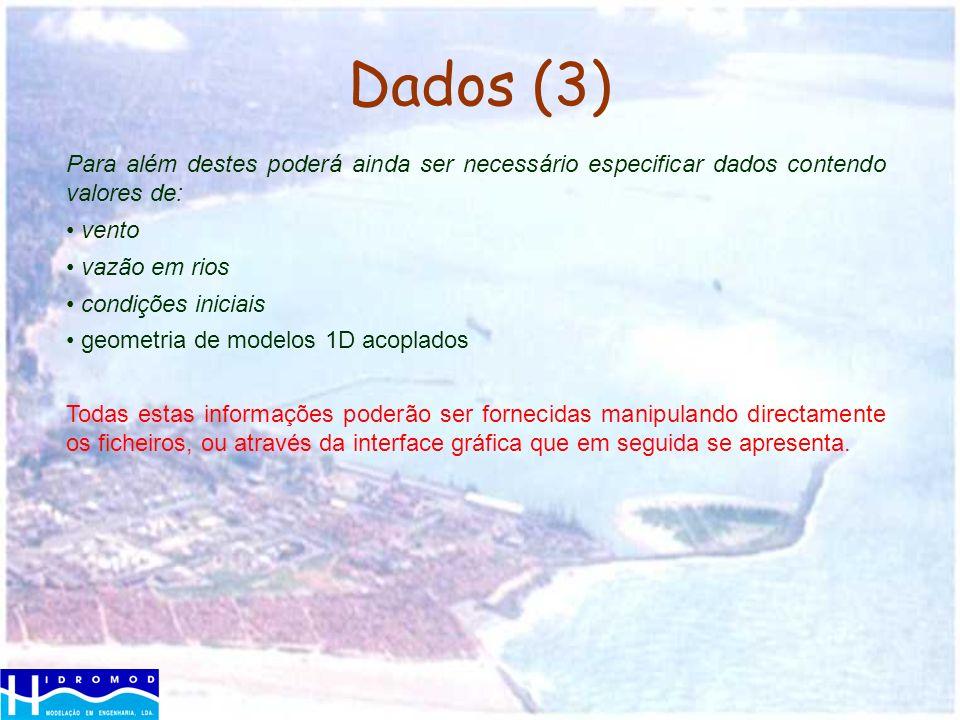 Dados (3) Para além destes poderá ainda ser necessário especificar dados contendo valores de: vento vazão em rios condições iniciais geometria de mode