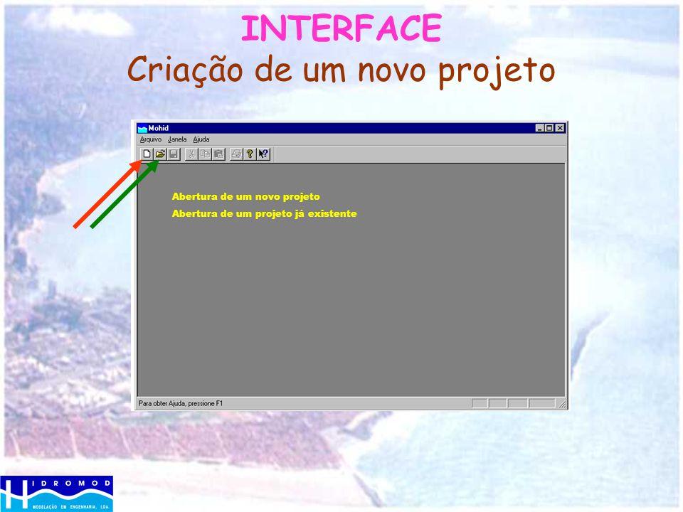 INTERFACE Criação de um novo projeto Abertura de um novo projeto Abertura de um projeto já existente