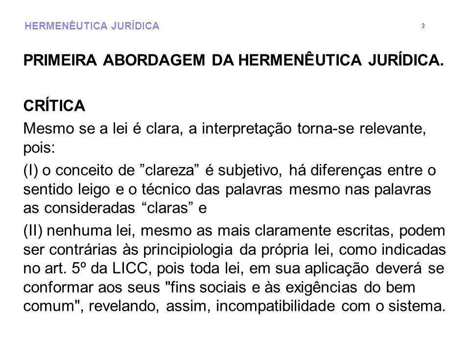 HERMENÊUTICA JURÍDICA PRIMEIRA ABORDAGEM DA HERMENÊUTICA JURÍDICA. CRÍTICA Mesmo se a lei é clara, a interpretação torna-se relevante, pois: (I) o con
