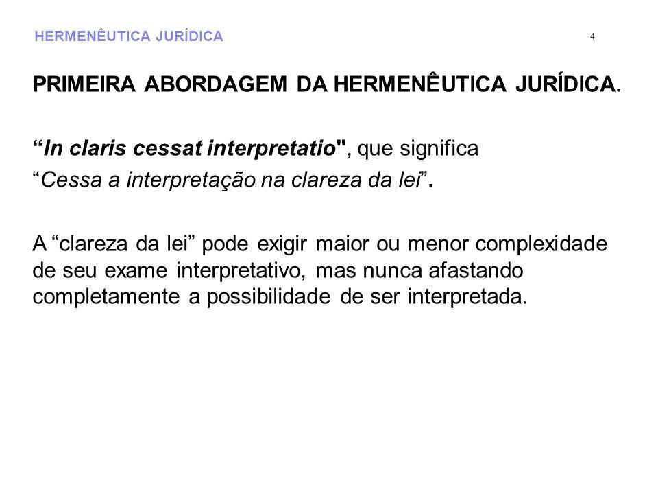 HERMENÊUTICA JURÍDICA PRIMEIRA ABORDAGEM DA HERMENÊUTICA JURÍDICA. In claris cessat interpretatio