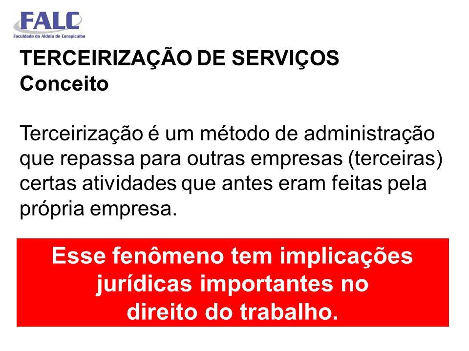 TERCEIRIZAÇÃO DE SERVIÇOS Conceito Terceirização é um método de administração que repassa para outras empresas (terceiras) certas atividades que antes