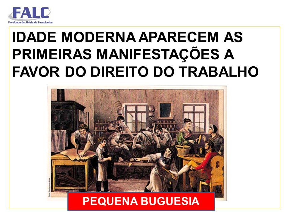 IDADE MODERNA APARECEM AS PRIMEIRAS MANIFESTAÇÕES A FAVOR DO DIREITO DO TRABALHO PEQUENA BUGUESIA