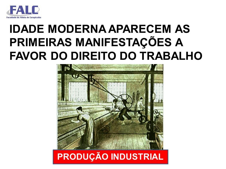 IDADE MODERNA APARECEM AS PRIMEIRAS MANIFESTAÇÕES A FAVOR DO DIREITO DO TRABALHO PRODUÇÃO INDUSTRIAL