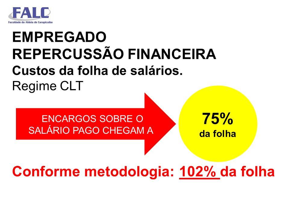 EMPREGADO REPERCUSSÃO FINANCEIRA Custos da folha de salários. Regime CLT Conforme metodologia: 102% da folha ENCARGOS SOBRE O SALÁRIO PAGO CHEGAM A 75