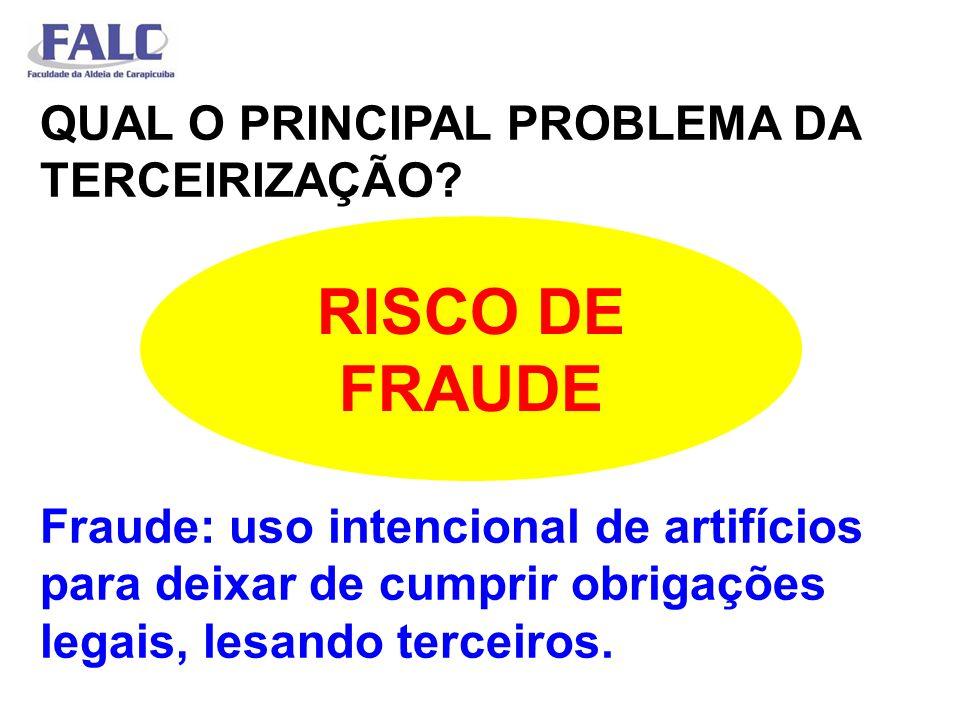 QUAL O PRINCIPAL PROBLEMA DA TERCEIRIZAÇÃO? Fraude: uso intencional de artifícios para deixar de cumprir obrigações legais, lesando terceiros. RISCO D