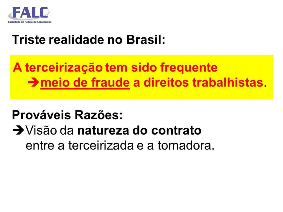Triste realidade no Brasil: Prováveis Razões: Visão da natureza do contrato entre a terceirizada e a tomadora. A terceirização tem sido frequente meio