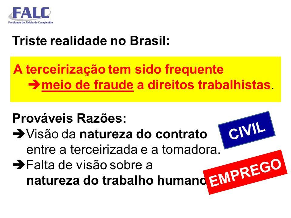 Triste realidade no Brasil: Prováveis Razões: Visão da natureza do contrato entre a terceirizada e a tomadora. Falta de visão sobre a natureza do trab