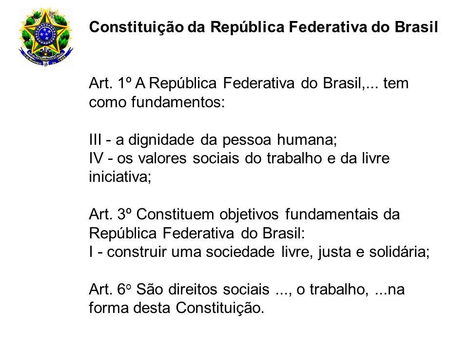 Constituição da República Federativa do Brasil Art. 1º A República Federativa do Brasil,... tem como fundamentos: III - a dignidade da pessoa humana;