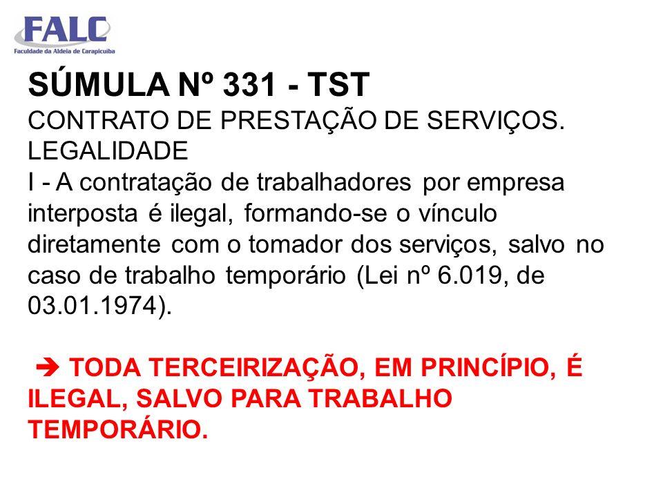 SÚMULA Nº 331 - TST CONTRATO DE PRESTAÇÃO DE SERVIÇOS. LEGALIDADE I - A contratação de trabalhadores por empresa interposta é ilegal, formando-se o ví