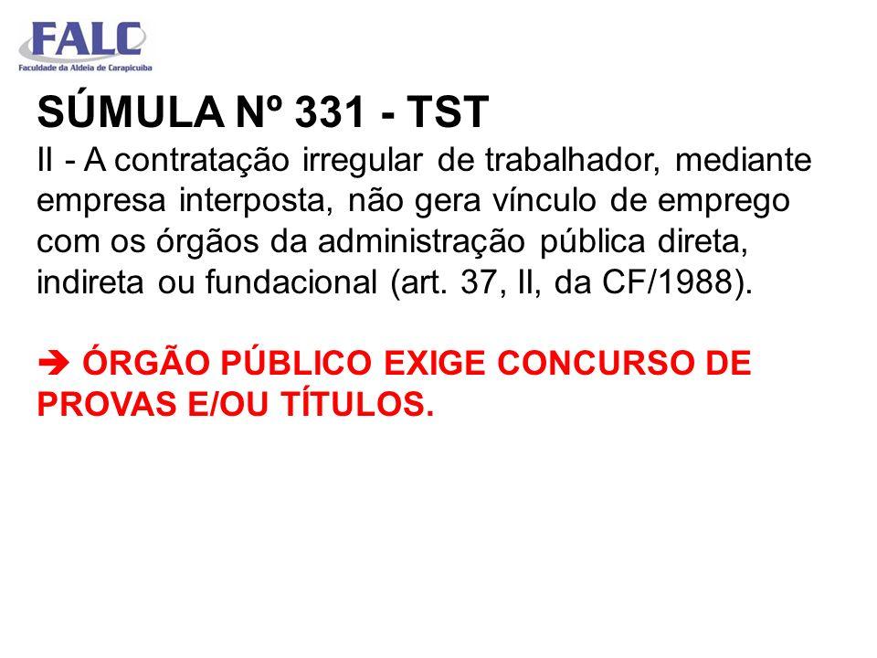 SÚMULA Nº 331 - TST II - A contratação irregular de trabalhador, mediante empresa interposta, não gera vínculo de emprego com os órgãos da administraç