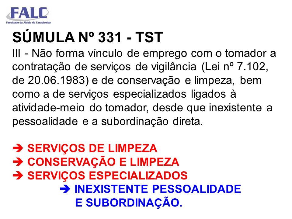 SÚMULA Nº 331 - TST III - Não forma vínculo de emprego com o tomador a contratação de serviços de vigilância (Lei nº 7.102, de 20.06.1983) e de conser