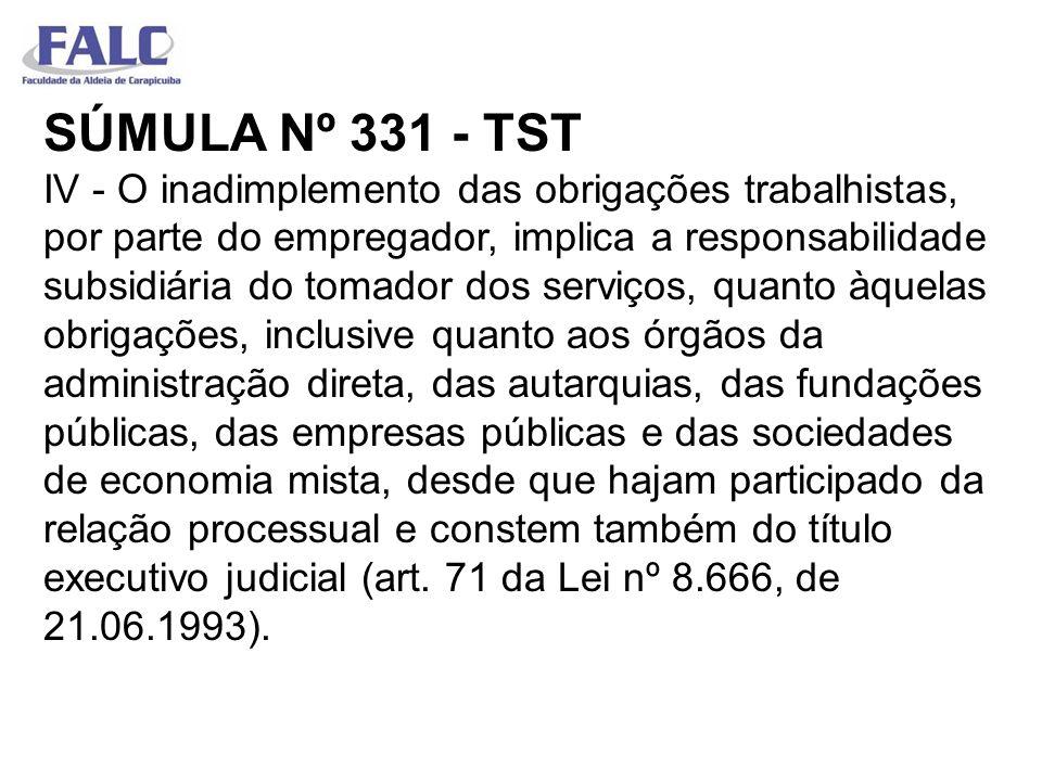SÚMULA Nº 331 - TST IV - O inadimplemento das obrigações trabalhistas, por parte do empregador, implica a responsabilidade subsidiária do tomador dos