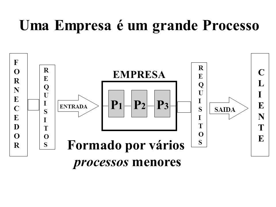 EMPRESA F O R N E C E D O R CLIENTECLIENTE R E Q U I S I T O S R E Q U I S I T O S ENTRADA SAIDA Uma Empresa é um grande Processo P1P1 P2P2 P3P3 Formado por vários processos menores