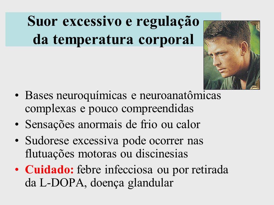 Suor excessivo e regulação da temperatura corporal Bases neuroquímicas e neuroanatômicas complexas e pouco compreendidas Sensações anormais de frio ou
