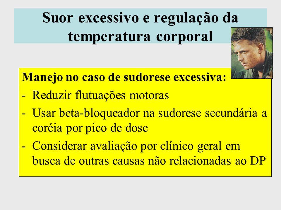 Suor excessivo e regulação da temperatura corporal Manejo no caso de sudorese excessiva: -Reduzir flutuações motoras -Usar beta-bloqueador na sudorese