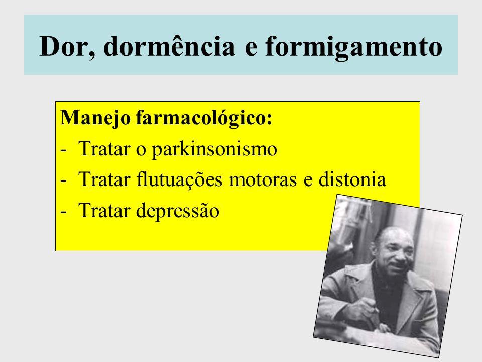 Dor, dormência e formigamento Manejo farmacológico: -Tratar o parkinsonismo -Tratar flutuações motoras e distonia -Tratar depressão