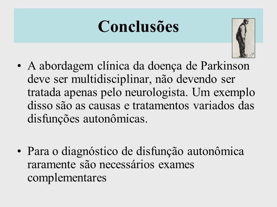 Conclusões A abordagem clínica da doença de Parkinson deve ser multidisciplinar, não devendo ser tratada apenas pelo neurologista. Um exemplo disso sã