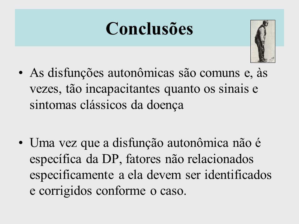 Conclusões As disfunções autonômicas são comuns e, às vezes, tão incapacitantes quanto os sinais e sintomas clássicos da doença Uma vez que a disfunçã