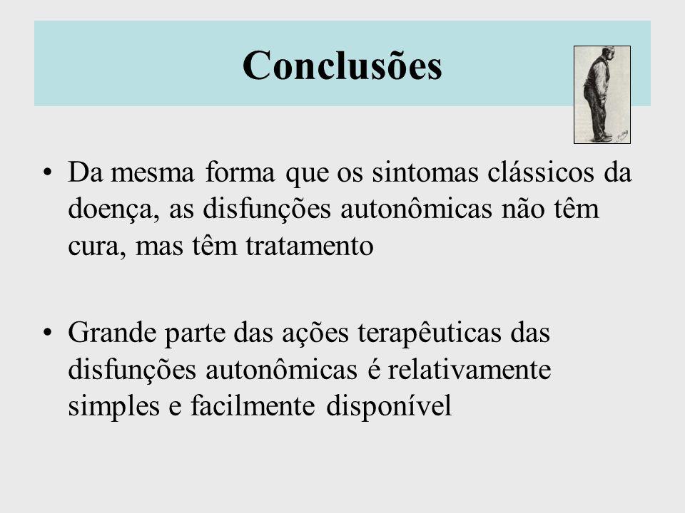 Conclusões Da mesma forma que os sintomas clássicos da doença, as disfunções autonômicas não têm cura, mas têm tratamento Grande parte das ações terap