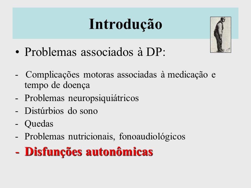 Disfunções autonômicas Definição: alterações do sistema nervoso involuntário Já descritas por James Parkinson, 1817 Leves e tardias na DP, intensa nas DP-plus Pode ser causada pelas próprias drogas utilizadas para DP