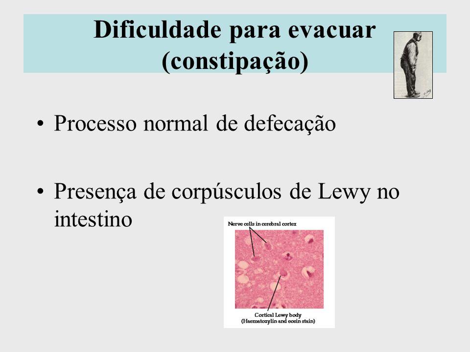 Dificuldade para evacuar (constipação) Processo normal de defecação Presença de corpúsculos de Lewy no intestino